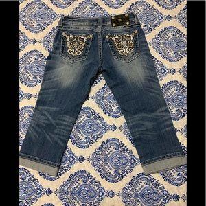 Miss Me Cuffed Capri Jeans Embellished pockets 26